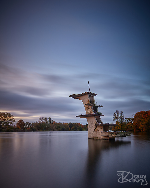 The old diving structure at Coate Water is now simply a home for roosting pigeons. (Doug King)
