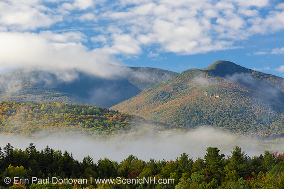 View of mountains on a foggy autumn morning from the information center at the junction of Route 302 and Route 3 in Twin Mountain, New Hampshire.