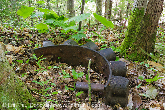 Pemigewasset Wilderness - Artifact at along the old East Branch & Lincoln Railroad in Lincoln, New Hampshire USA. This was a logging railroad in operation from 1893 - 1948. As you explore the many logging camps and historical sites of the White Mountains, New Hampshire, keep in mind that removal of historic or archaeological artifacts from federal lands without a permit is a violation of federal law. (See 36CFR800 and the Archaeological Resources Protection Act of 1979). Destruction of artifacts is also a crime.
