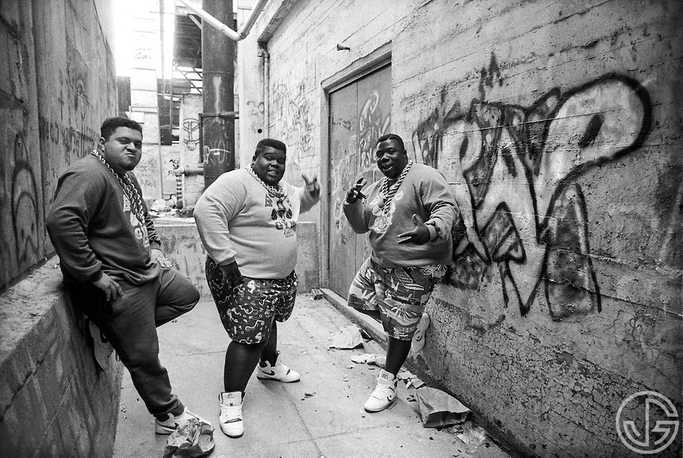 Photo by Joe Gosen -- The Fat Boys pose for a portrait in Palo Alto, CA in the summer of 1987. (Joe Gosen)