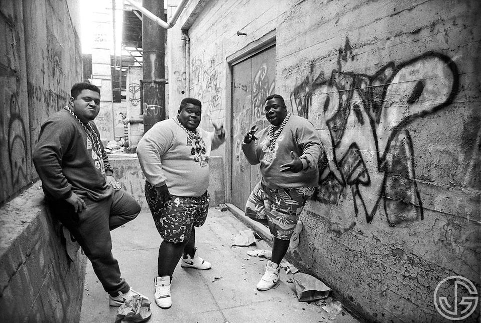 Photo by Joe Gosen -- The Fat Boys pose for a portrait in Palo Alto, CA in the summer of 1987. (Joe Gosen)