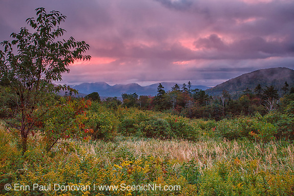 Sunrise and storm clouds along the Kancamagus Highway (route 112), which is one of New England's scenic byways located in the White Mountains, New Hampshire.