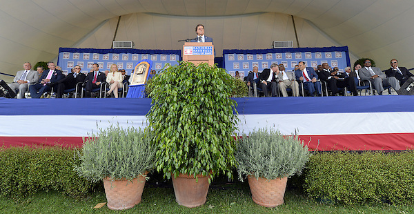 COOPERSTOWN, NY - JULY 27:  2014 Baseball Hall of Famer inductee Tony LaRussa gives his acceptance speech during the 2014 HOF induction ceremonies held at the Clark Sports Center in Cooperstown, New York on July 27 2014. (Ron Vesely)
