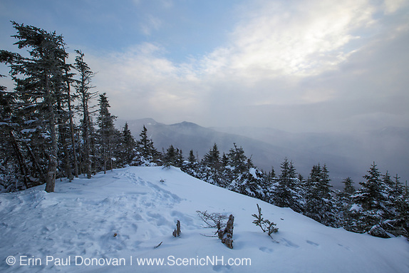 February 2015 - Scenic view from the summit of Mount Tecumseh in Waterville Valley, New Hampshire USA during the winter months. View shedding (unauthorized cutting) has improved the summit view. Forest Service has verified the cutting is unauthorized.