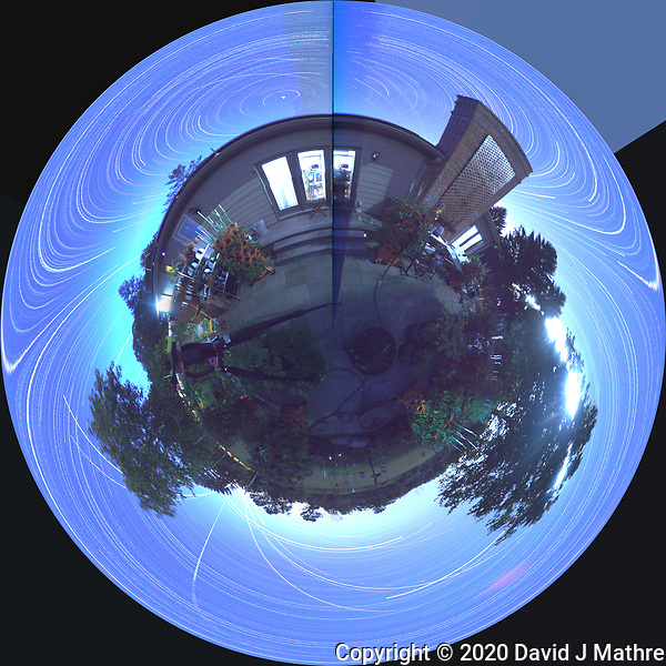 Summertime Night Sky over New Jersey (360 Little Planet View Panorama). Composite of images (20:12-03:20) taken with a Ricoh Theta Z1 camera (ISO 400, dual 2.6 mm fisheye lens, f/2.1, 60 sec). With image alignment in Photoshop CC (scrips,statistics, maximum, align images) (DAVID J MATHRE)