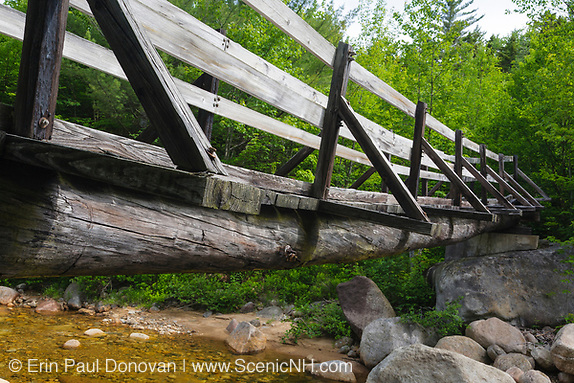Pemigewasset Wilderness - Footbridge, which crosses the East Branch of the Pemigewasset River along the Thoreau Falls Trail at North Fork Junction in Lincoln, New Hampshire USA. This bridge is supported by two large white pines.