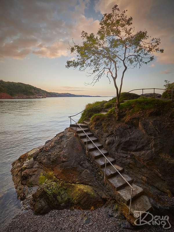 These steps lead down to a tiny cove on the coast path between Babbacombe and Oddicombe Beaches in Torbay. I was hoping that sunset would intensify the colours, but the clouds disappeared about 15 minutes before and denied me. (Doug King)