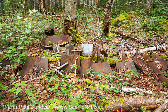 Artifacts at Camp 19 which was a logging camp along the East Branch & Lincoln Railroad in Lincoln, New Hampshire. The East Branch & Lincoln Railroad was a logging railroad that operated from 1893-1948.