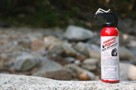 Counter Assault Bear Spray on rock in the White Mountains, New Hampshire.