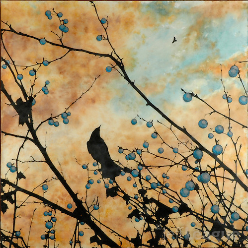 Birds in sunset sky encaustic painting with photography in blue and orange. (Jeff League)