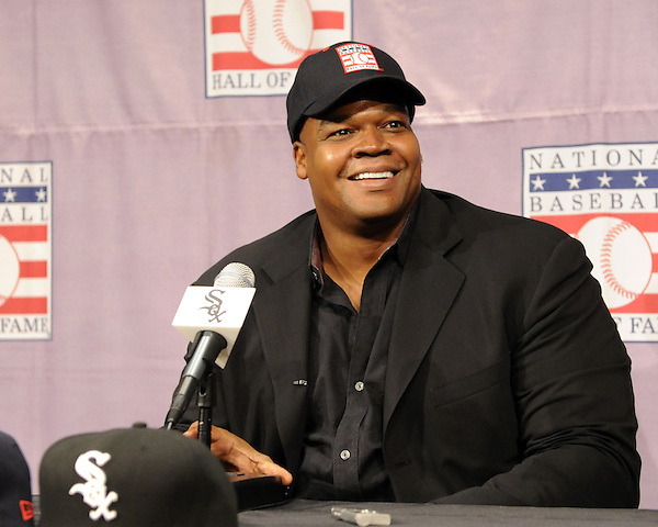 CHICAGO - JANUARY 08:  Frank Thomas #35 of the Chicago White Sox addresses the media after being voted into the Major League Baseball Hall of Fame January 8, 2014 at U.S. Cellular Field in Chicago, Illinois.  (Photo by Ron Vesely/) (Ron Vesely)