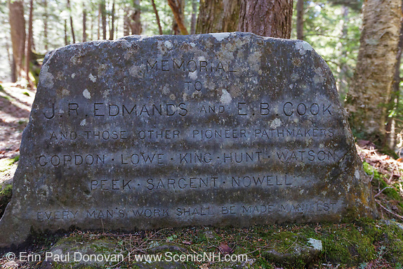 J.R. Edmands and E.B. Cook and those other pioneer pathmakers along the Link Trail in Randolph, New Hampshire. This memorial is near Cold Brook.