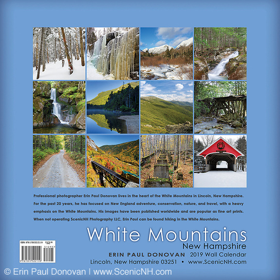 Back cover of the 2019 White Mountains, New Hampshire wall calendar by Erin Paul Donovan.