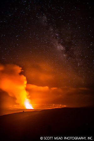 Photo~Zen: Stars over Lava at Halemaumau Volcano
