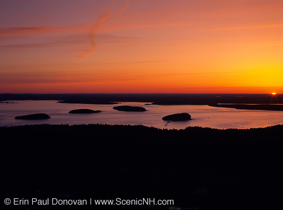 Sunrise over Frenchman Bay from Cadillac Mountain located in Acadia National Park, Maine.