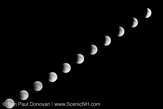 Composite image of the supermoon lunar eclipse on September 27, 2015 from Lincoln, New Hampshire.