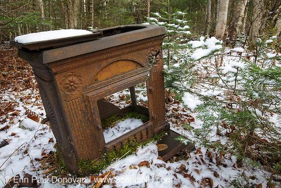 Artifact (Smith & Anthony Stove Co. Boston, MASS 1889) along the abandoned Mt Washington Branch of the Boston and Maine (B&M) Railroad in the White Mountains, New Hampshire USA. The Mt Washington Branch was built by the Boston, Concord & Montreal Railroad and completed in 1876. This branch traveled from the Fabyan House to the base of the Cog. The branch was closed in June 1932 (+/-).