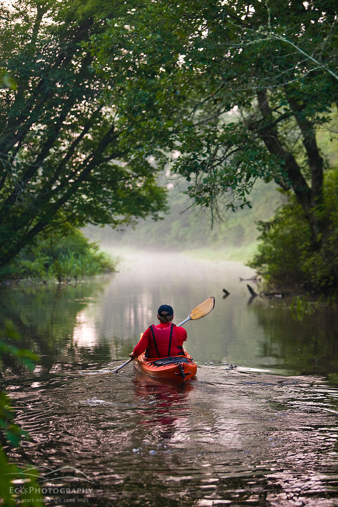 A man kayaks the Indian Head River in Hanover, Massachusetts. (Jerry and Marcy Monkman/EcoPhoto)