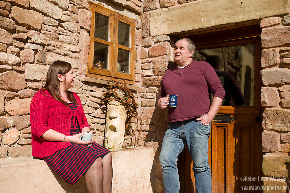 Sue and Andrew Clarke enjoy a cup of tea at their home near St. Briavels. (Robert van Waarden)