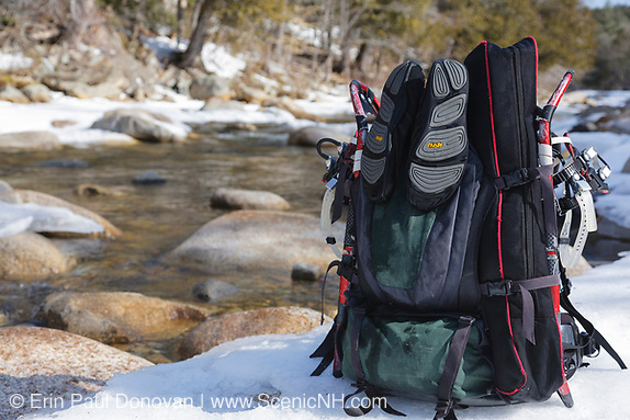 How to get sharper images? A common question every photographer is asked. Backpack next to the East Branch of the Pemigewasset River in the Pemigewasset Wilderness of Lincoln, New Hampshire USA during the winter months.