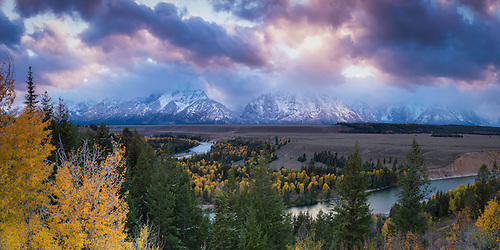Grand Teton National Park is home to some amazing views.  One of those from an easily accessible point is the Snake River Overlook.  Add to that some stunning Fall colors and a sunset and you have something to remember. (2013 Clint Losee)