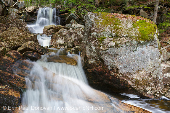 Cascade on Whitehouse Brook in Franconia Notch of Lincoln, New Hampshire on a spring day. This cascade is just below where the Appalachian Trail (Cascade Brook Trail) crosses Whitehouse Brook.