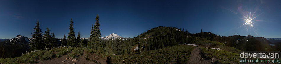A 180º view from the high point in the Naches Peak Loop Trail in Mt. Rainier National Park. (Dave Tavani)