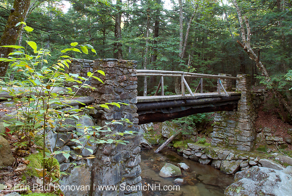 Memorial Bridge, which crosses Cold Brook in Randolph, New Hampshire. Built in the 1920s, this stone bridge is a dedication to all the early pathmakers.