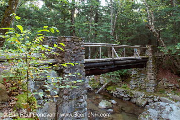 Memorial Bridge along the Link Trail in Randolph, New Hampshire. Built in the 1920s this stone bridge is a dedication to all the early pathmakers.