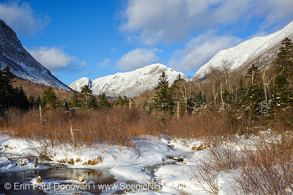 2016, Eagle Cliff from along the Pemi Trail in Franconia Notch State Park of the New Hampshire White Mountains during the winter months.