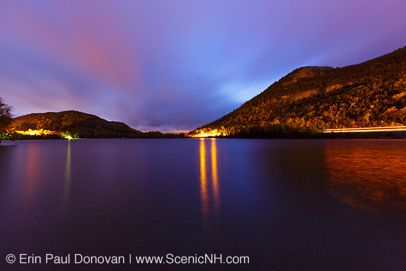Echo Lake in Franconia Notch State Park of the New Hampshire White Mountains on an autumn October night.