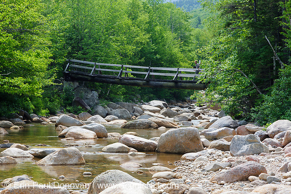Bridge at North Fork Junction in the Pemigewasset Wilderness of New Hampshire. This side view shows the Thoreau Falls Trail Bridge and the East Branch of the Pemigewasset River.