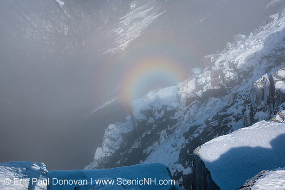 Brocken Spectre in Hellgate Ravine from the summit of Bondcliff Mountain in the White Mountains, New Hampshire.