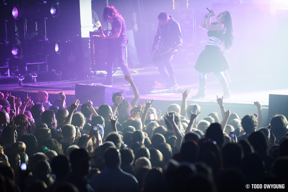Evanescence performing at a sold out show at the Pageant in St. Louis, Missouri on April 25, 2012. (TODD OWYOUNG)