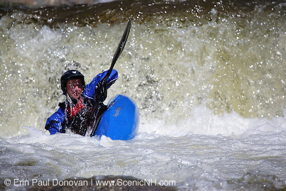 Kayaker going over Lower Falls along the Swift River during the spring months in the White Mountains, New Hampshire USA (Erin Paul Donovan | ScenicNH.com Photography)