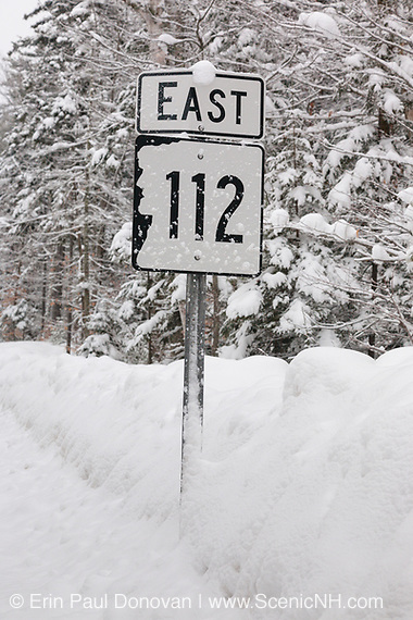 Kancamagus Highway (route 112), which is one of New England's scenic byways after a snow storm. Located in the White Mountains, New Hampshire.