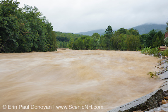 On August 27, 2011, the White Mountain National Forest was officially closed at 6:00PM because of Tropical Storm Irene. This image shows how the East Branch of the Pemigewasset River in Lincoln, New Hampshire looked on August 28, 2011.