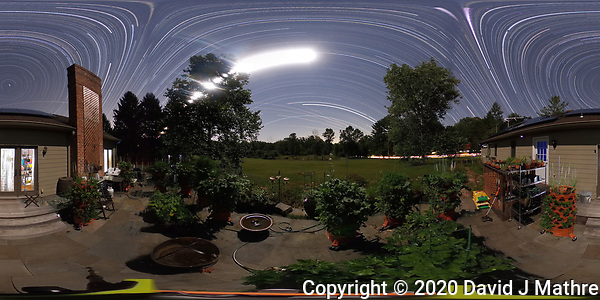 Summertime Night Sky over New Jersey (360 Equirectangular Panorama). Composite of 360 images taken with a Ricoh Theta Z1 camera (ISO 400, dual 2.6 mm fisheye lens, f/3.5, 60 sec). (DAVID J MATHRE)