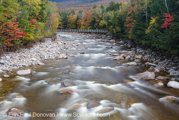 East Branch of the Pemigewasset River, near the Lincoln Woods Trailhead Suspension footbridge, in Lincoln, New Hampshire during the autumn months.