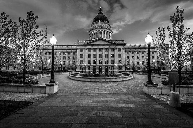 The inner gardens of the Salt Lake City Capitol Building provide an inner sanctuary to a political experience.  As day turns to night, a peaceful feel takes hold. (Clint Losee)