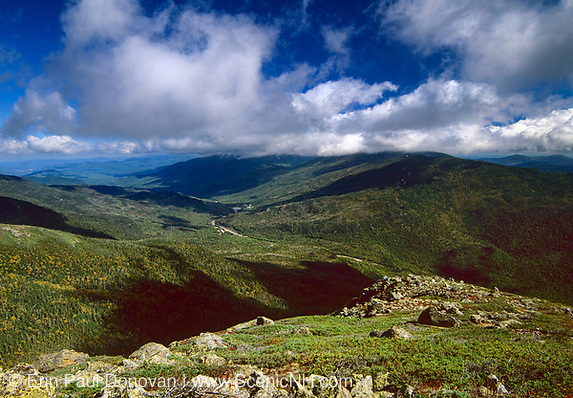 Pinkham Notch from Glen Boulder Trail in the White Mountains, New Hampshire USA. Route 16 can be seen in the valley.