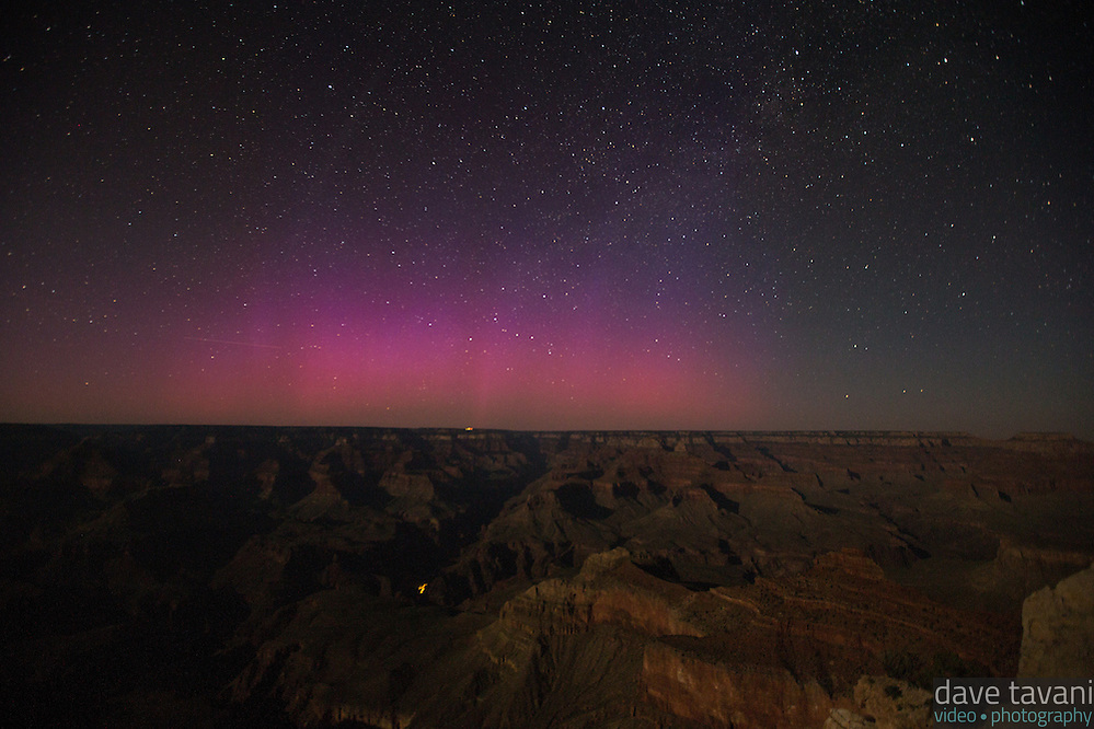 Strange light appears over the Grand Canyon on June 22, 2015, as seen from Mather Point Overlook. Is it the Aurora Borealis or light pollution? The Washington Post reported that the Aurora was seen as far south as Texas on June 22. (Dave Tavani)