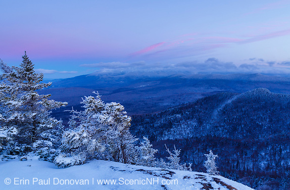 View of the Presidential Range at sunset from Owl's Head (Cherry Mountain) in Carroll, New Hampshire USA during the winter months.