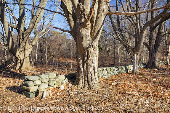 Stonewall on the grounds of Odiorne Point State Park in Rye, New Hampshire USA, which is part of scenic New England.