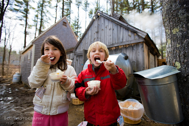 Two kids enjoy maple sundaes at Folsom's Sugar House in Chester, New Hampshire.  Steam from boiling sap rises from the sugar house. (Jerry and Marcy Monkman)