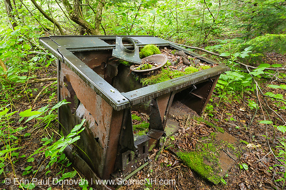 Old stoves in the Pemigewasset Wilderness. Home Comfort Stove made by Wrought Iron Range Co in St. Louis, Missouri at Camp 18 along the abandoned East Branch & Lincoln Railroad in Lincoln, New Hampshire USA. This was a logging railroad in operation from 1893 - 1948