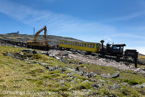 Cleanup efforts along the Mount Washington Cog Railway near the summit of Mount Washington in the White Mountains, New Hampshire.