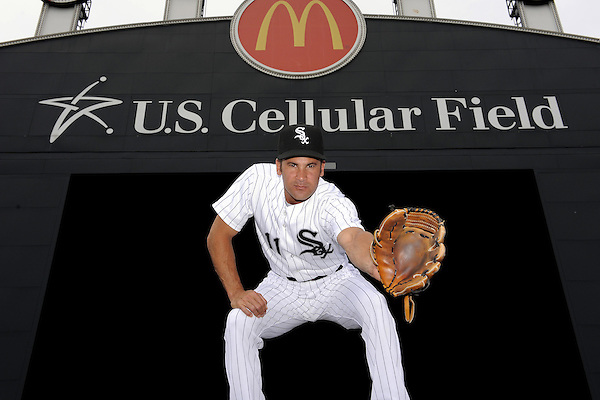 CHICAGO - JULY 28:  Omar Vizquel #11 of the Chicago White Sox poses for a portrait at various locations within U.S. Cellular Field while honoring fellow Venezuelan shortstop and baseball Hall-of-Famer Luis Aparicio prior to the game against the Seattle Mariners on July 28, 2010 at U.S. Cellular Field in Chicago, Illinois.   (Photo by Ron Vesely) (Ron Vesely)
