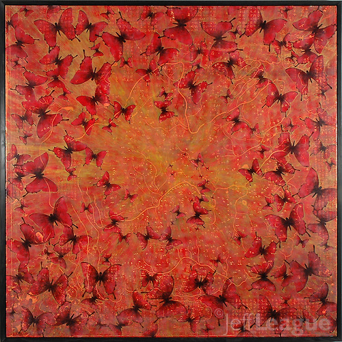 Butterflies encaustic painting over antique map of China (Jeff League)