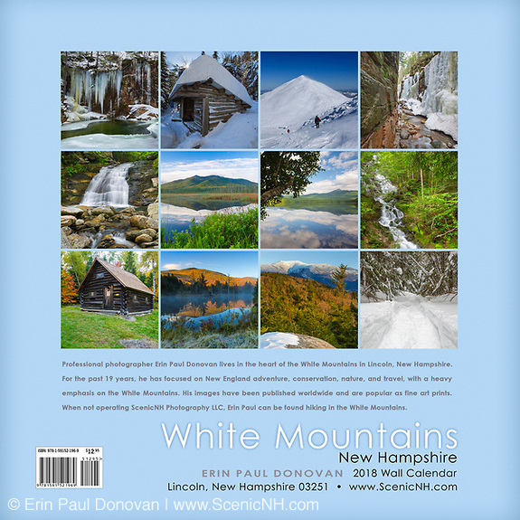 Back cover of the 2018 White Mountains, New Hampshire wall calendar by ScenicNH Photography LLC | Erin Paul Donovan.